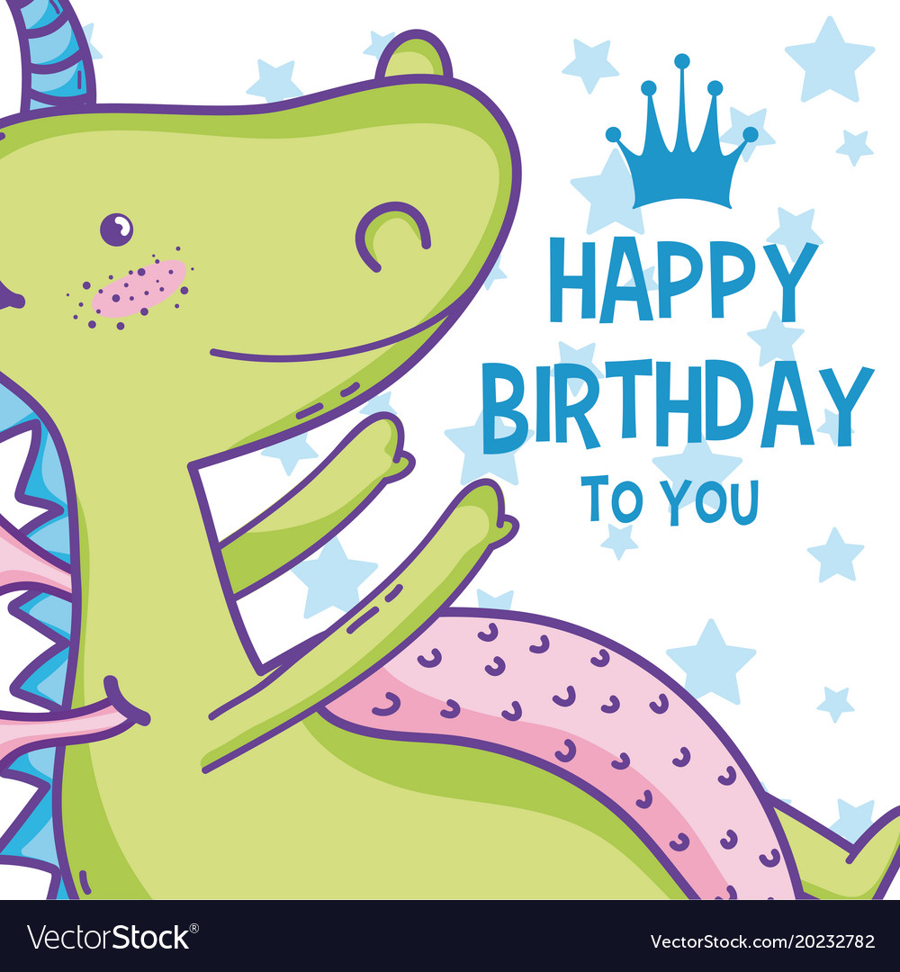 Happy Birthday Card Cute Cartoons Royalty Free Vector Image