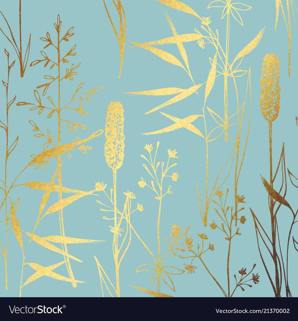 A pattern with wildflowers with imitation gold