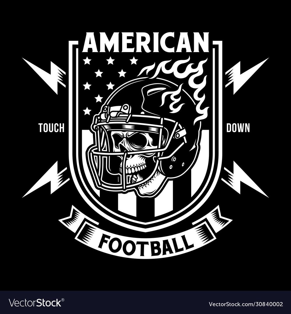 American football skull with helmet