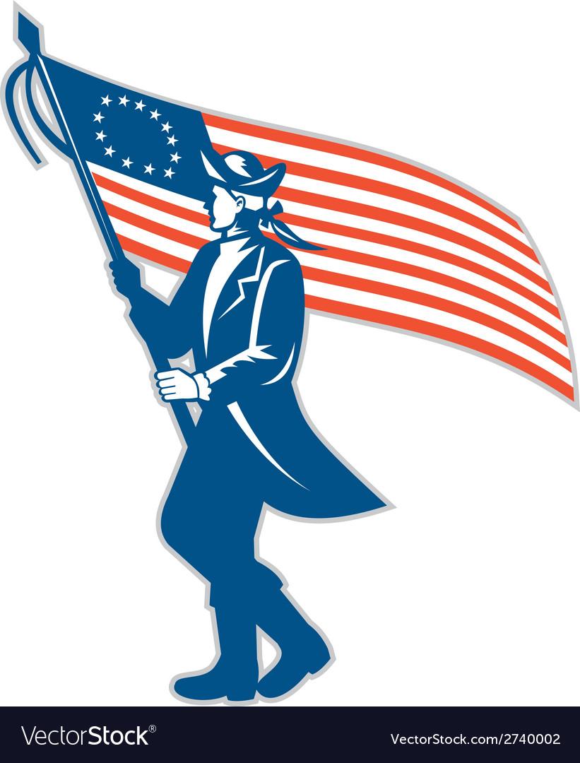 American Patriot Soldier Waving USA Flag Circle vector image