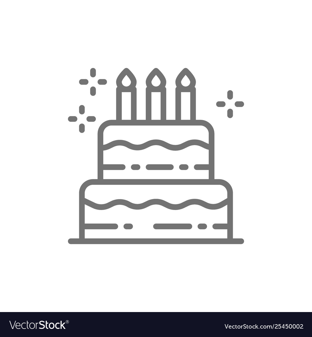 Birthday cake holiday torte sweet line icon