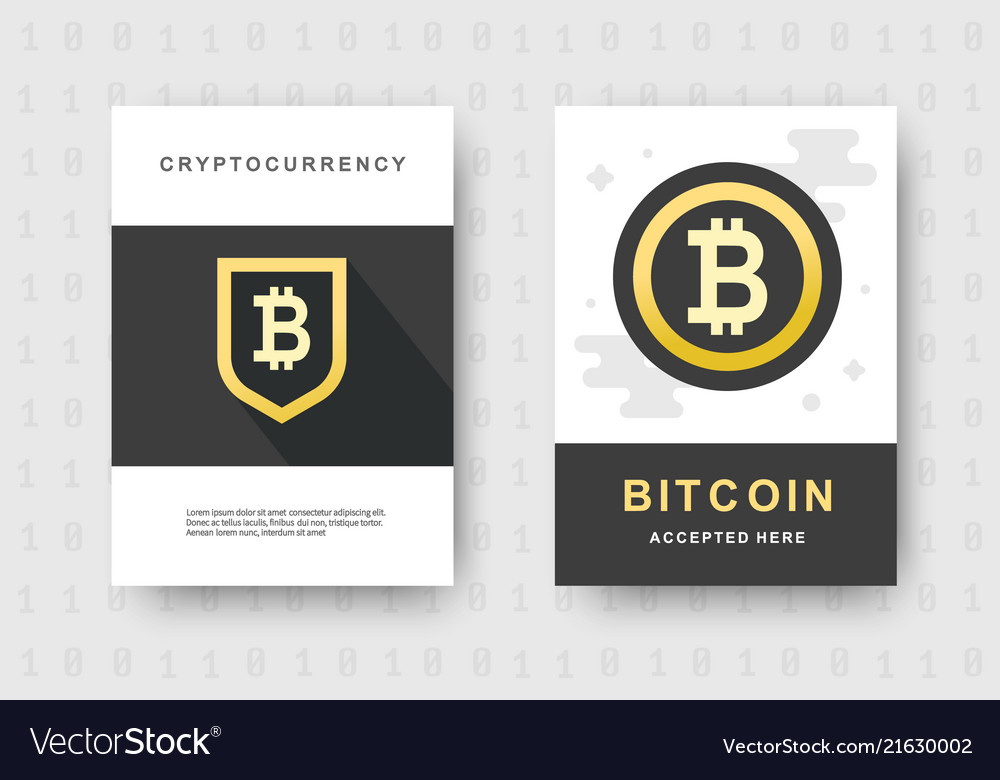 Bitcoin web banners set cryptocurrency logo sigh