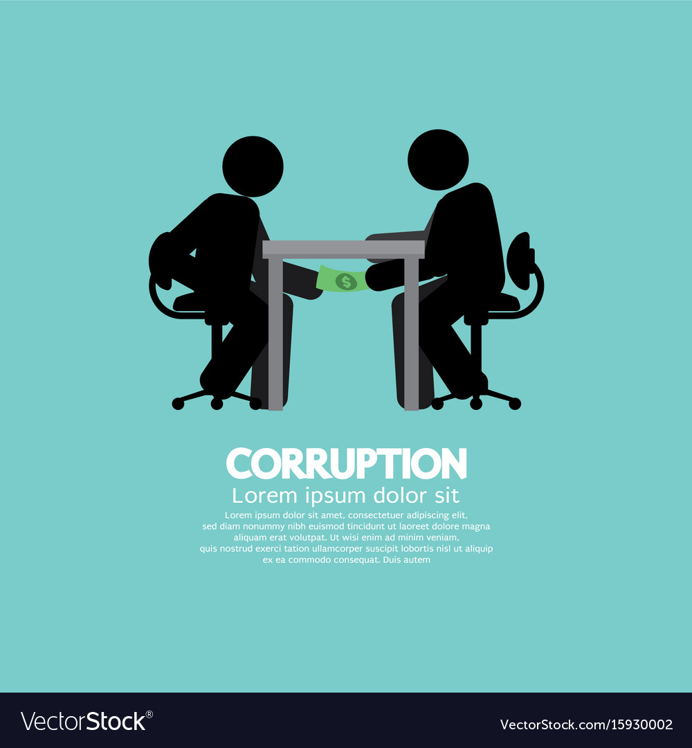 Black symbol of two men in corruption concept vector image