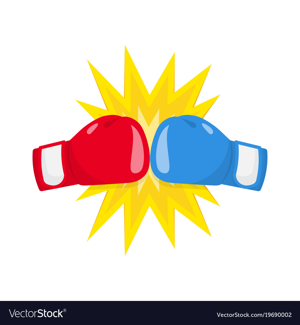 Boxing gloves fight icon red vs blue Royalty Free Vector