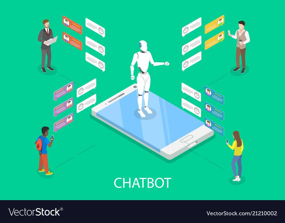 Chatbot flat isometric concept