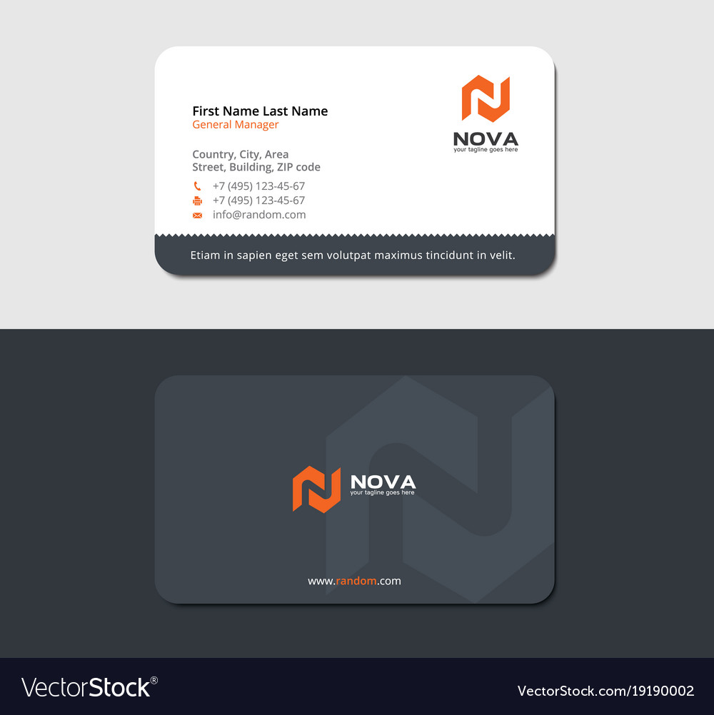 Construction business card with orange letter n vector image colourmoves