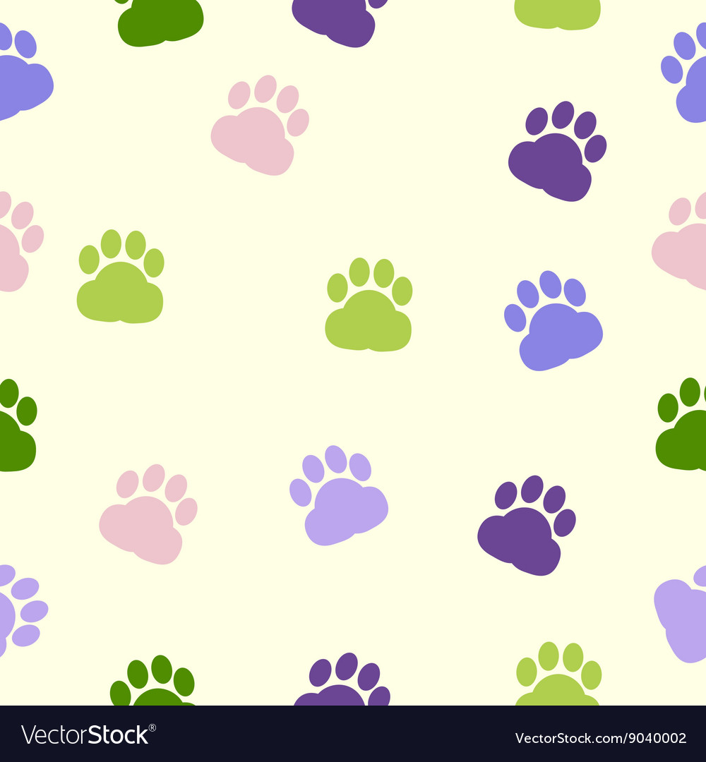 Dog paws pattern print trace color