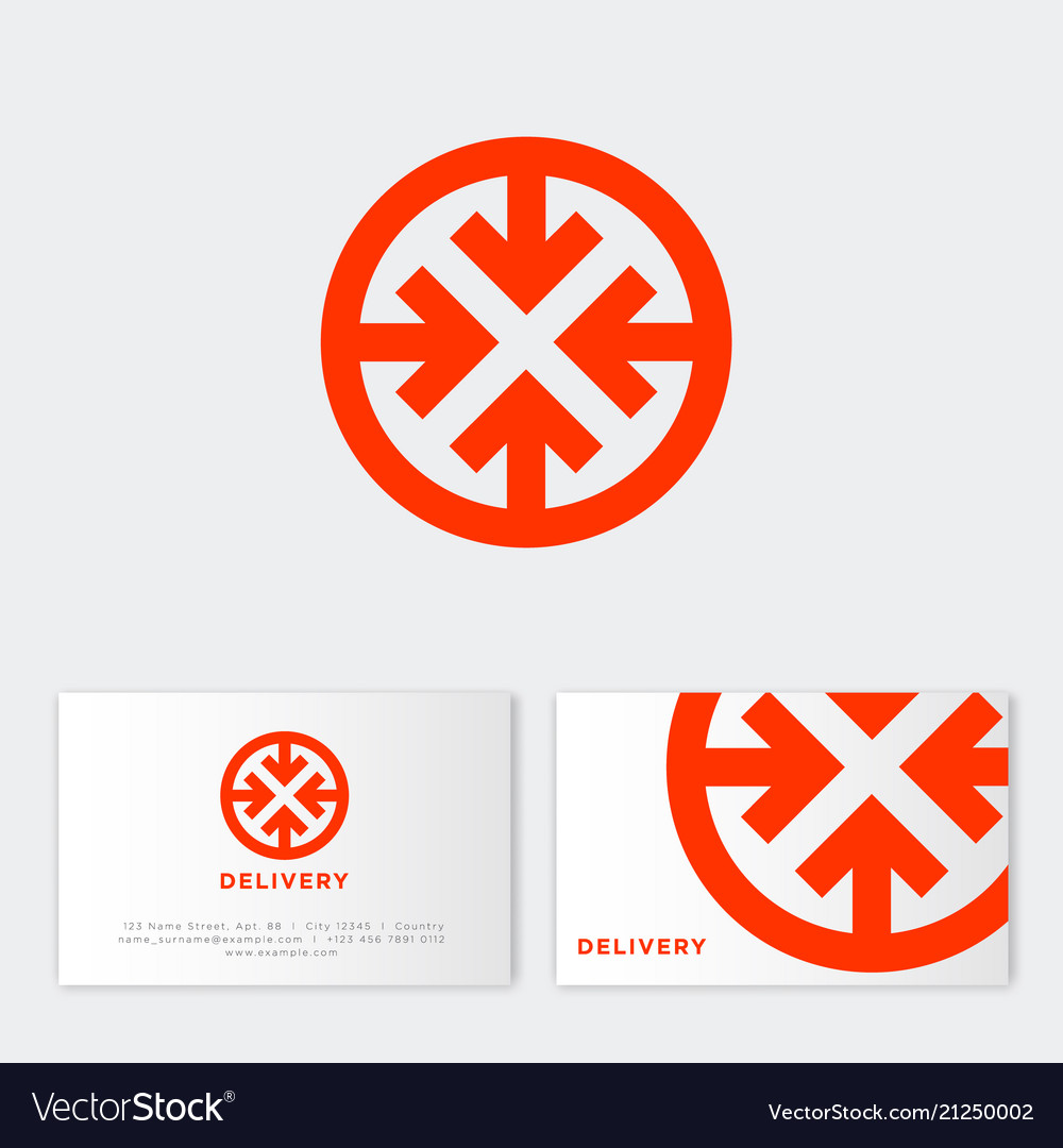 Express delivery logo logistic red business card Vector Image