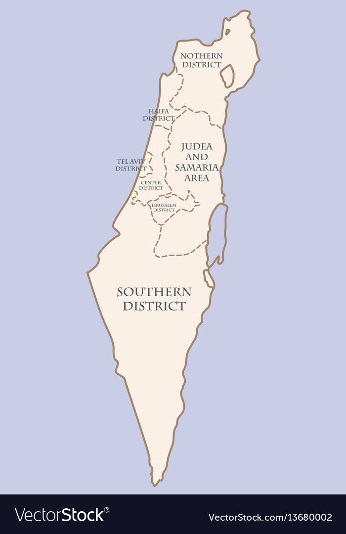 Israel contour map with districts