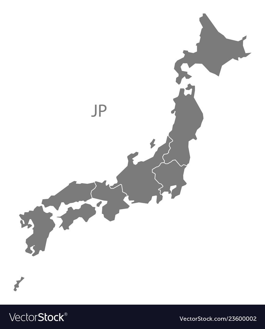 Japan Regions Map Grey Royalty Free Vector Image