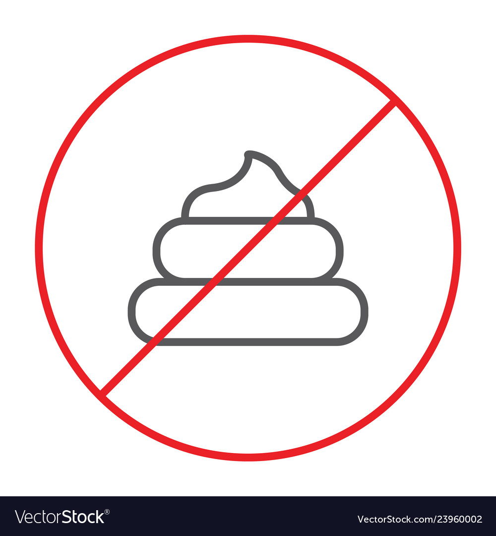No poop thin line icon prohibited and forbidden