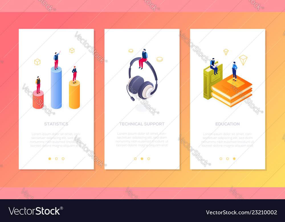 Online services - set of isometric vertical