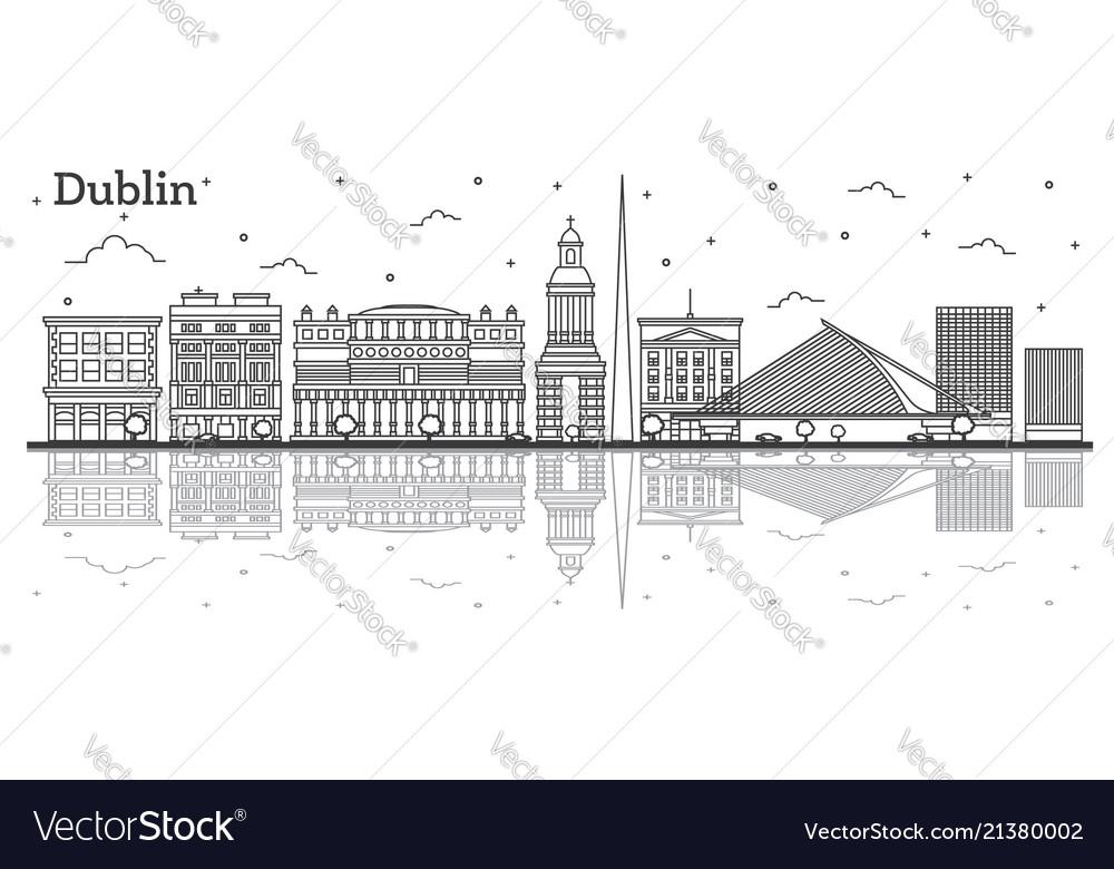 Outline dublin ireland city skyline with historic