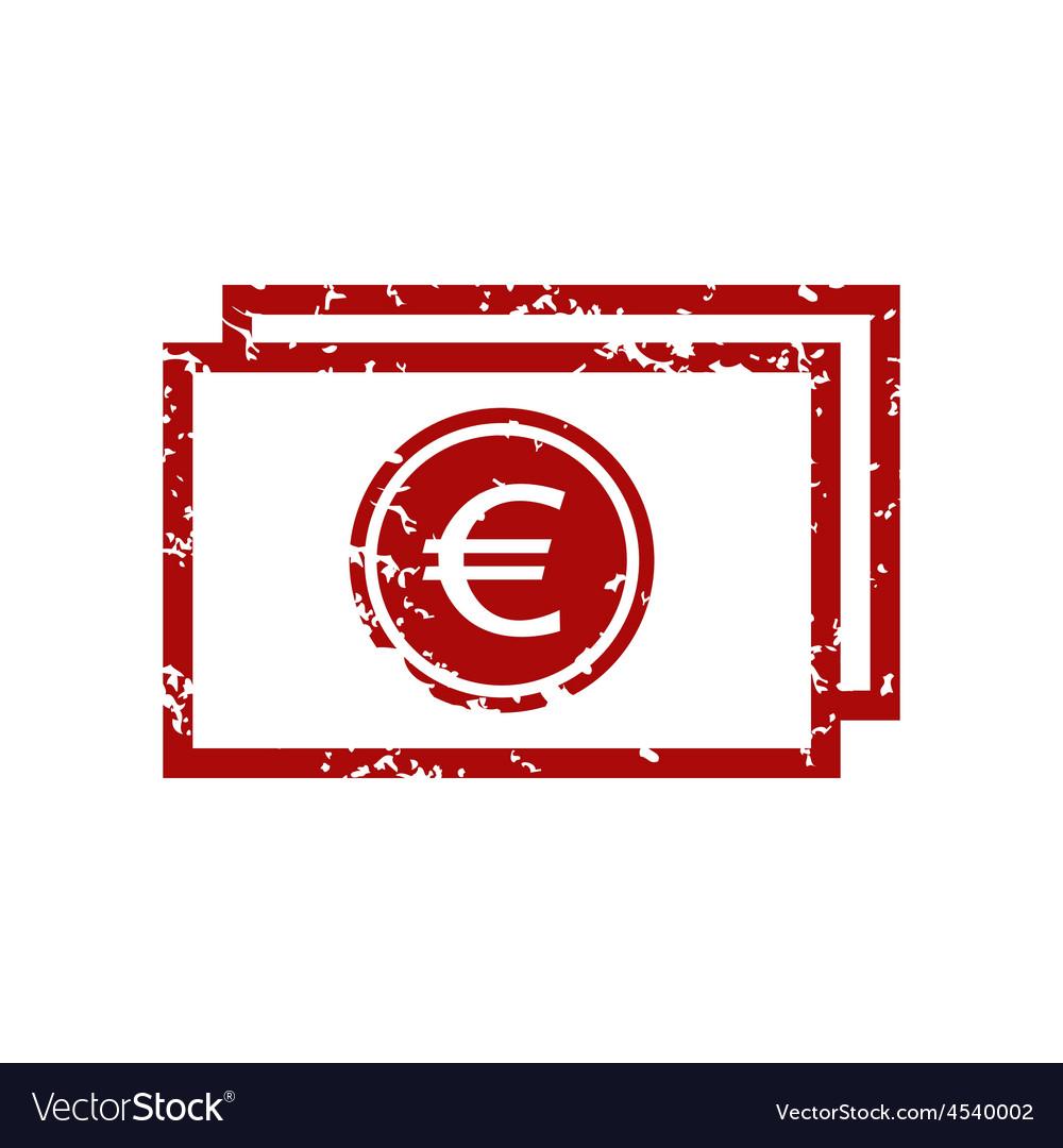 Red grunge euro buck logo