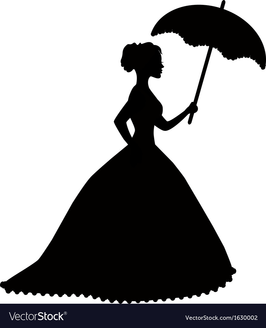 Retro Silhouette Of A Woman With Umbrella Vector Image