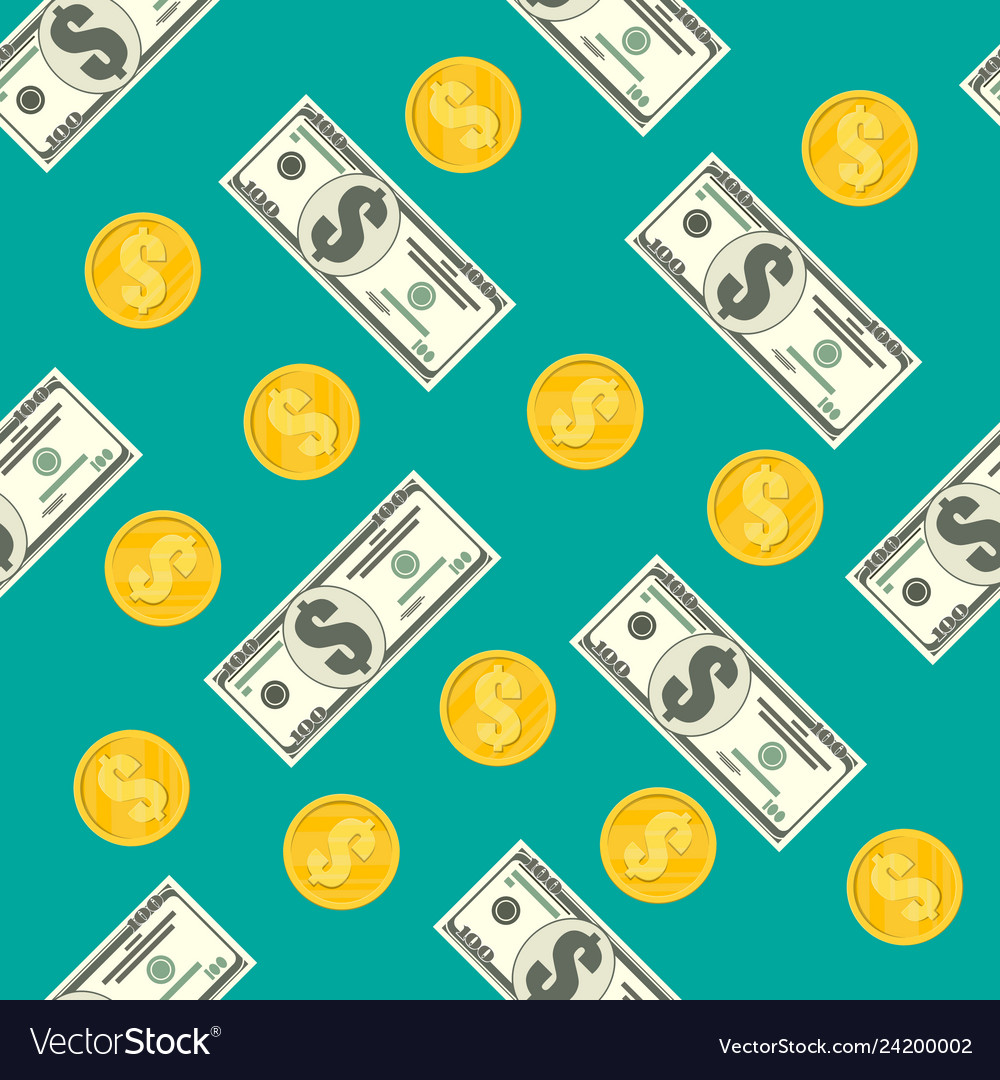 Seamless pattern of dollar banknotes golden coins