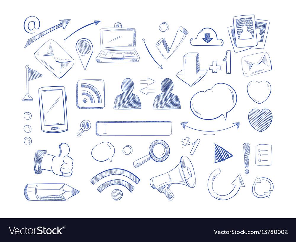 Social media network doodles internet