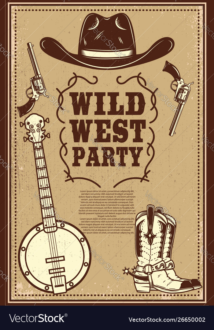 Wild west party poster template cowboy boots hat