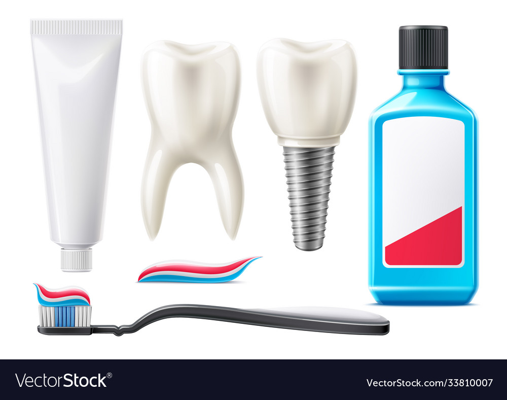 3d teeth and oral care products mock up