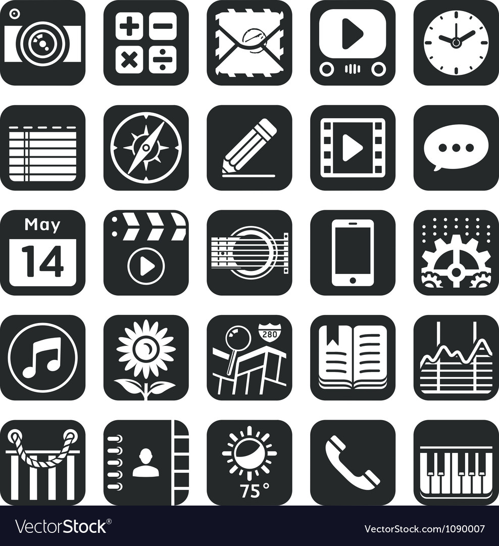 Application icons for smartphone and web