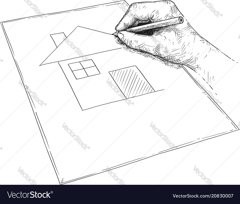Artistic Of Hand Drawing Dream House On Paper Vector Image