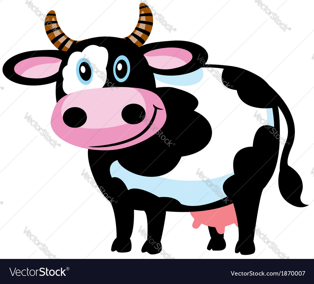 cartoon cow royalty free vector image vectorstock rh vectorstock com cow vector logo cow vector free