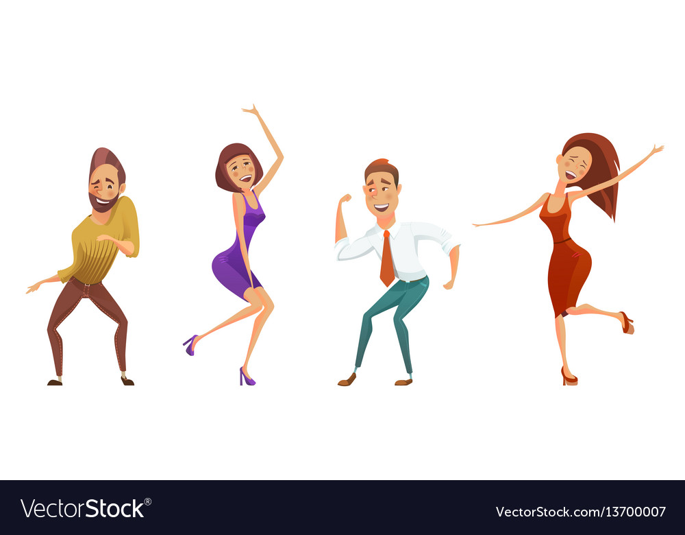 Dancing people funny cartoon style icons