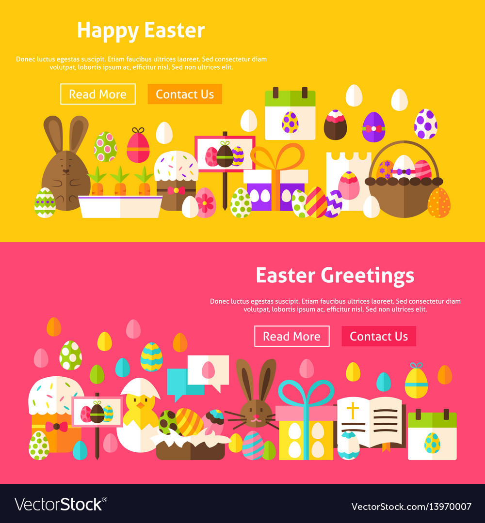 Easter holiday website banners vector image