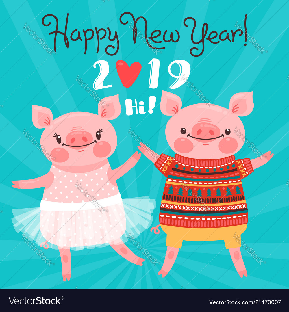 Happy 2019 new year card couple of funny piglets