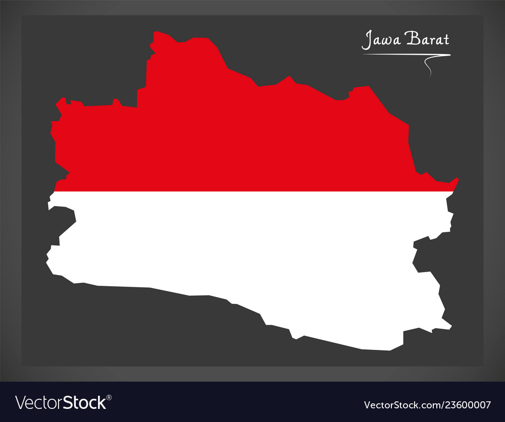 Jawa barat indonesia map with indonesian national