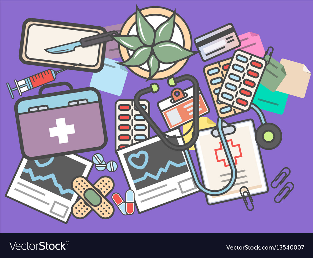 Medicine top view banner with medical equipment vector image