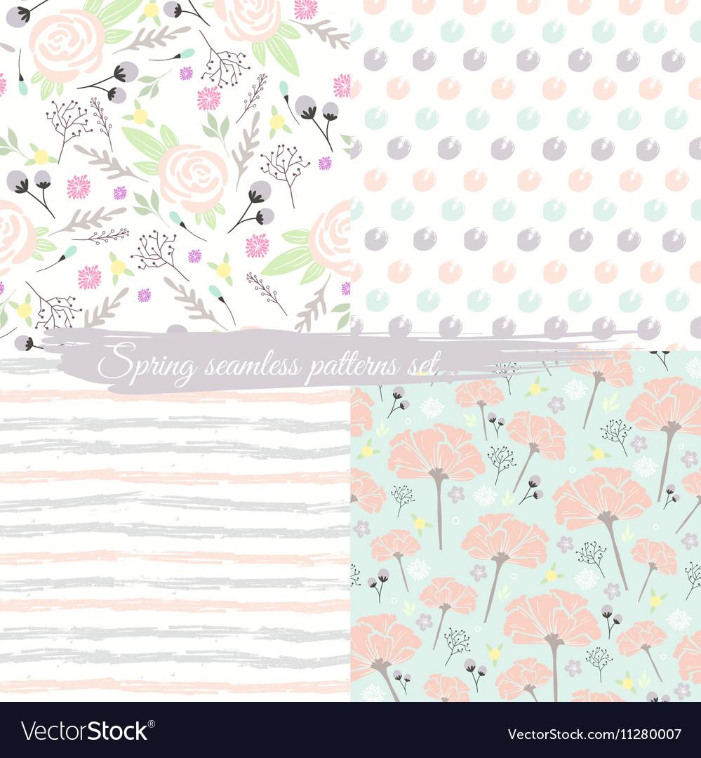 Seamless spring floral patterns set