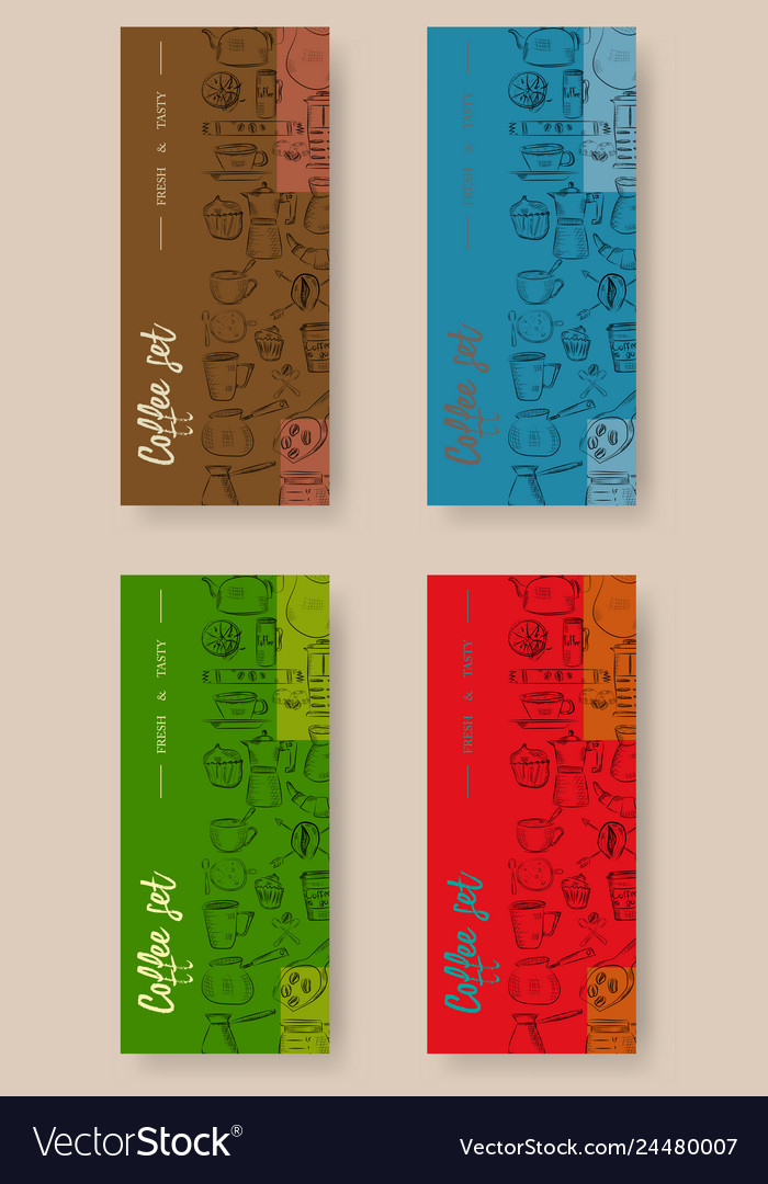 Set of vertical banners with graphic design