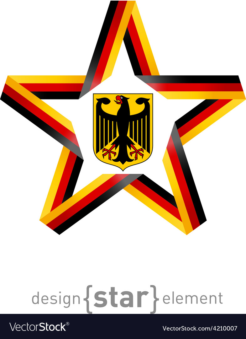Star with Germany flag colors and coat of arms