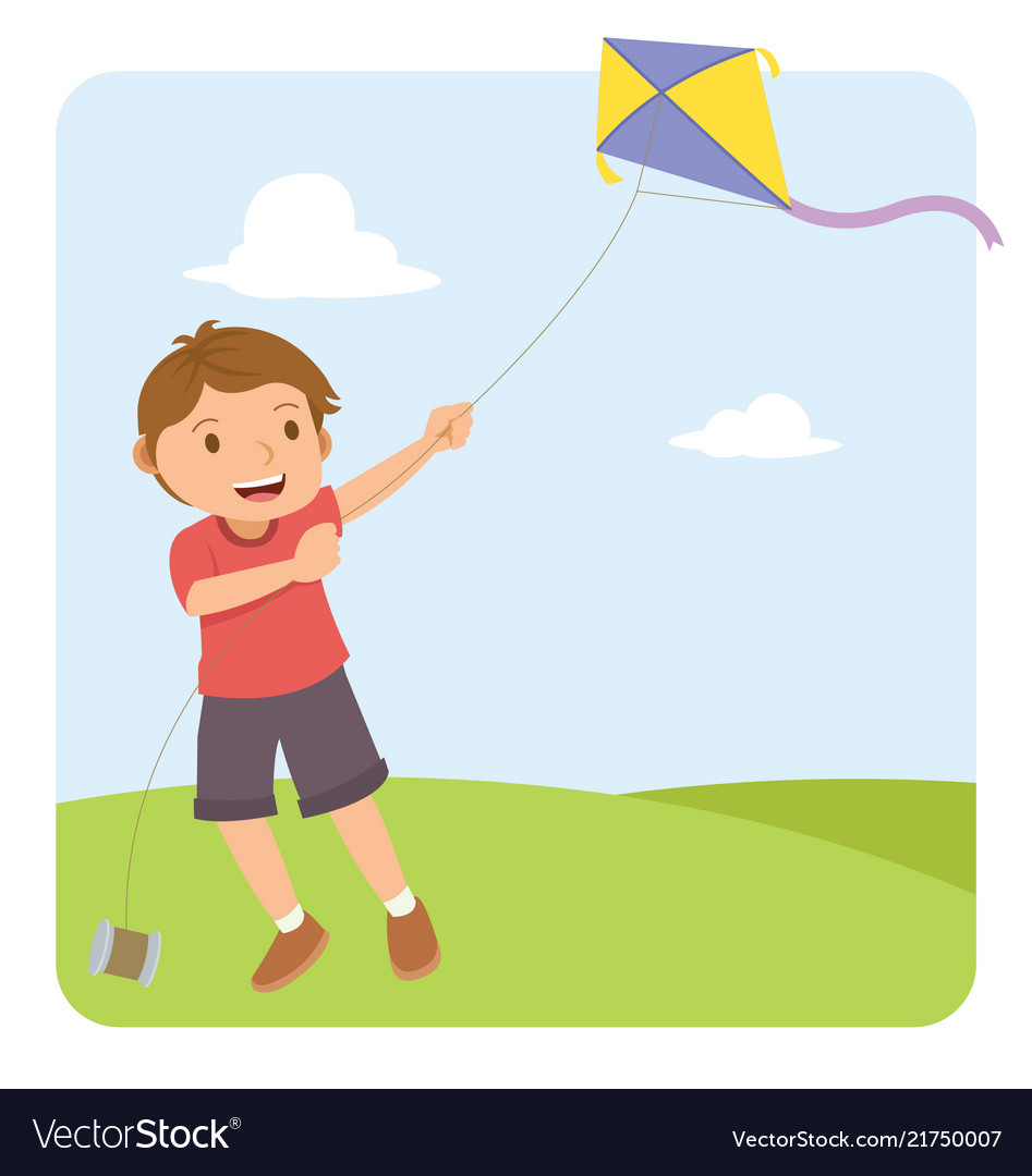 Young boy with red shirt flying a kite in the
