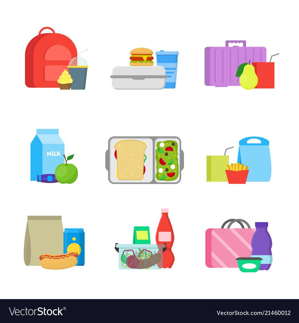 Cartoon color school lunch food boxes set
