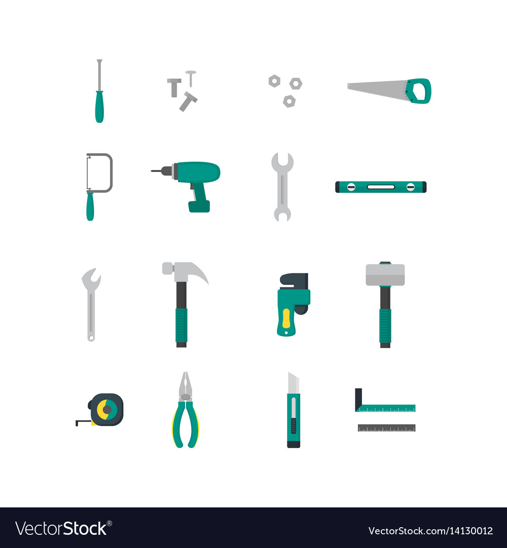 Cartoon hand tools color icons set