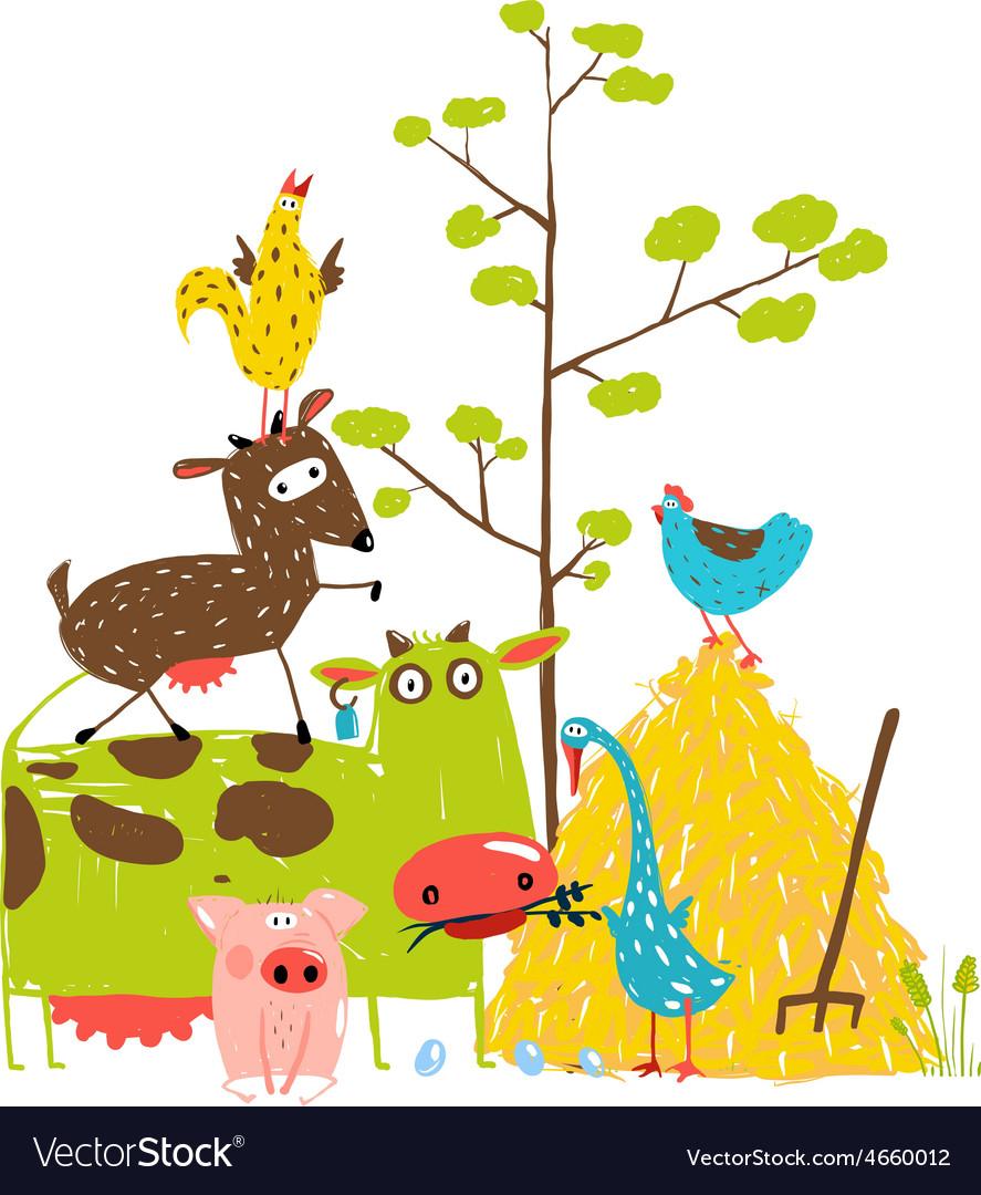 Colorful Funny Cartoon Farm Domestic Animals