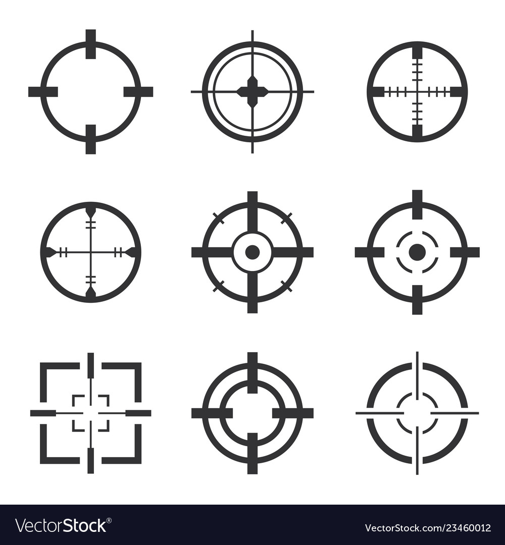 Crosshair icons set isolated