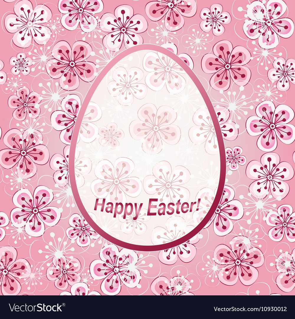 Gentle pink floral greeting frame Happy Easter