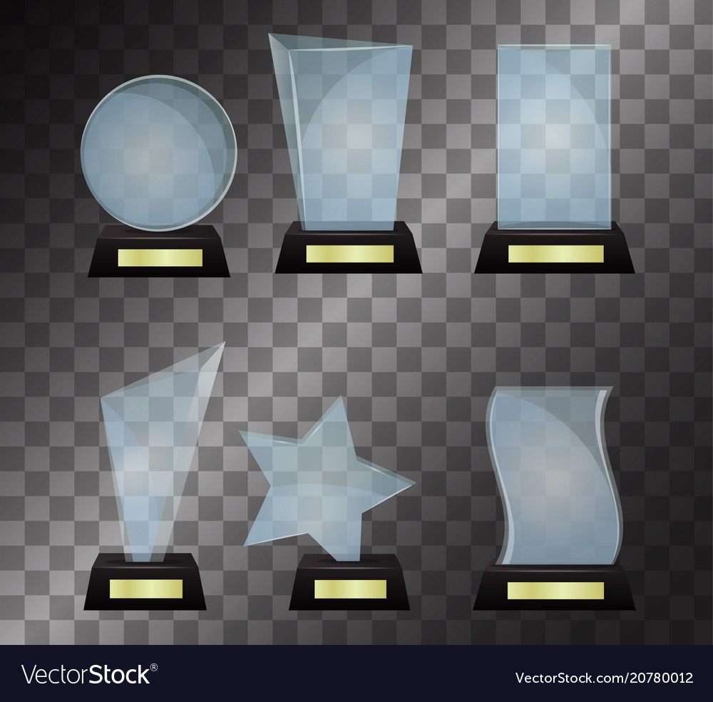 Glass trophy award isolated on