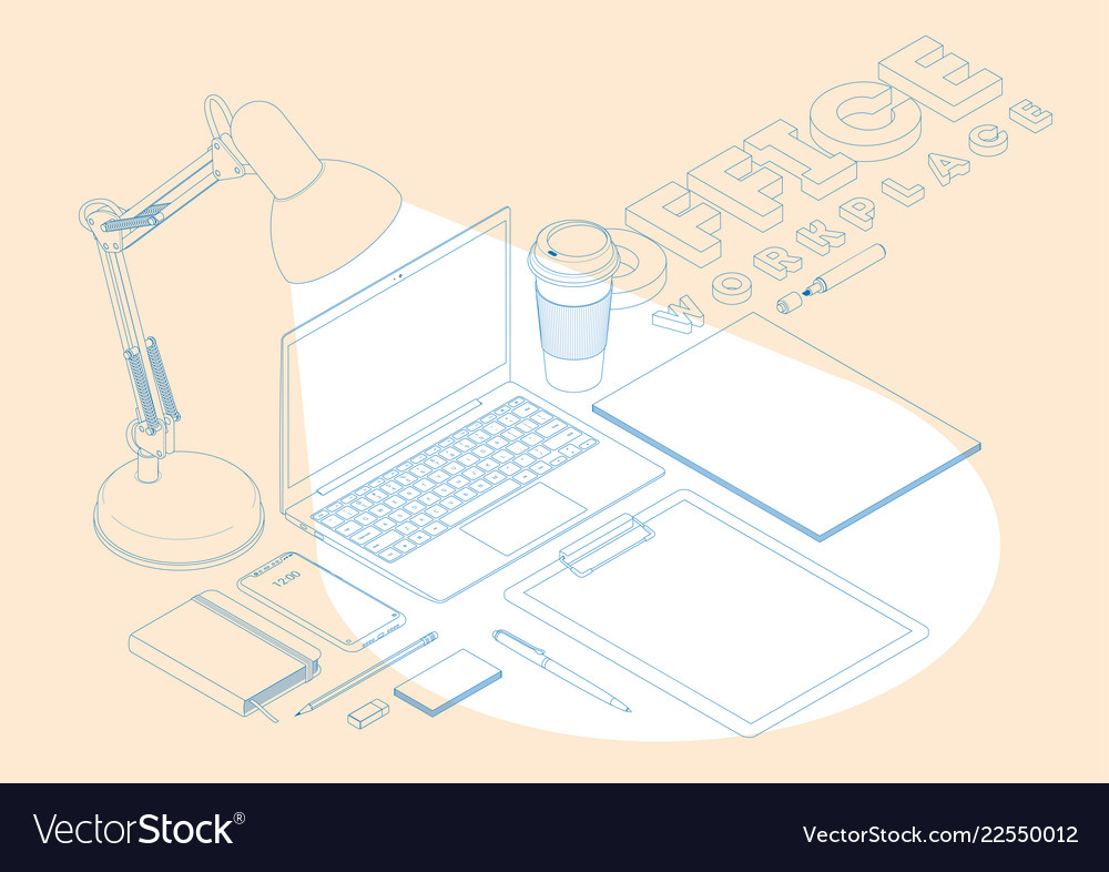 Isometric concept of workplace with computer and