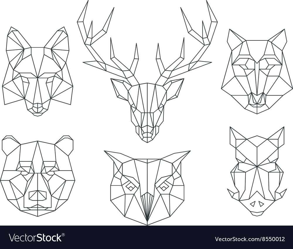 Low poly animals heads Triangular thin line