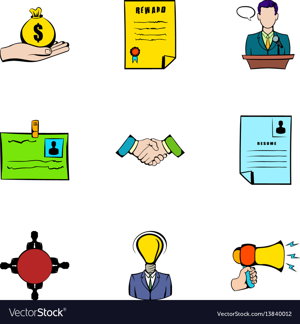 Resume icons set cartoon style