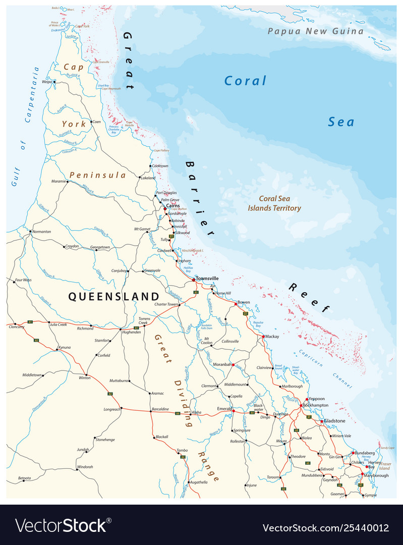 Road Map Of Australia.Road Map Cap York Peninsula And Queensland