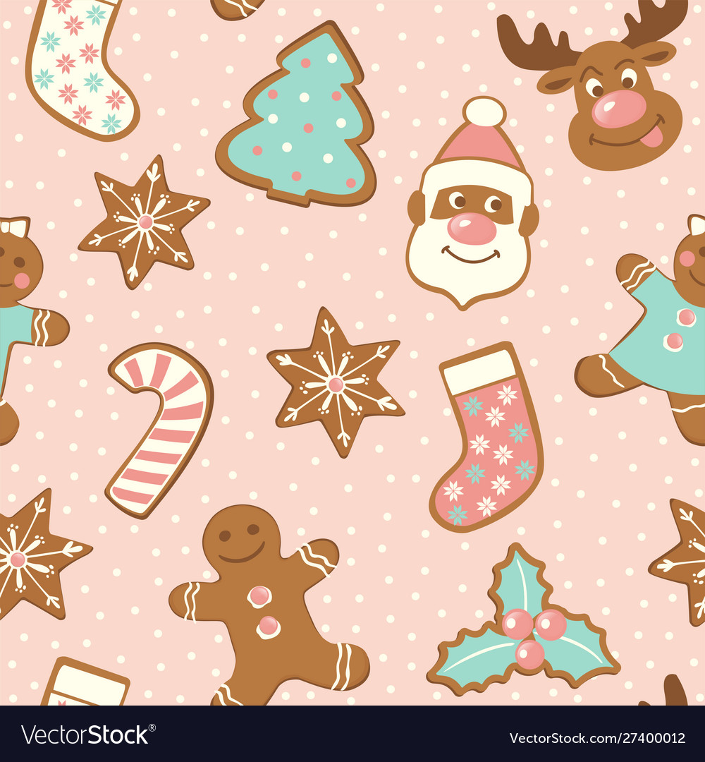 Set cute gingerbread cookies for christmas