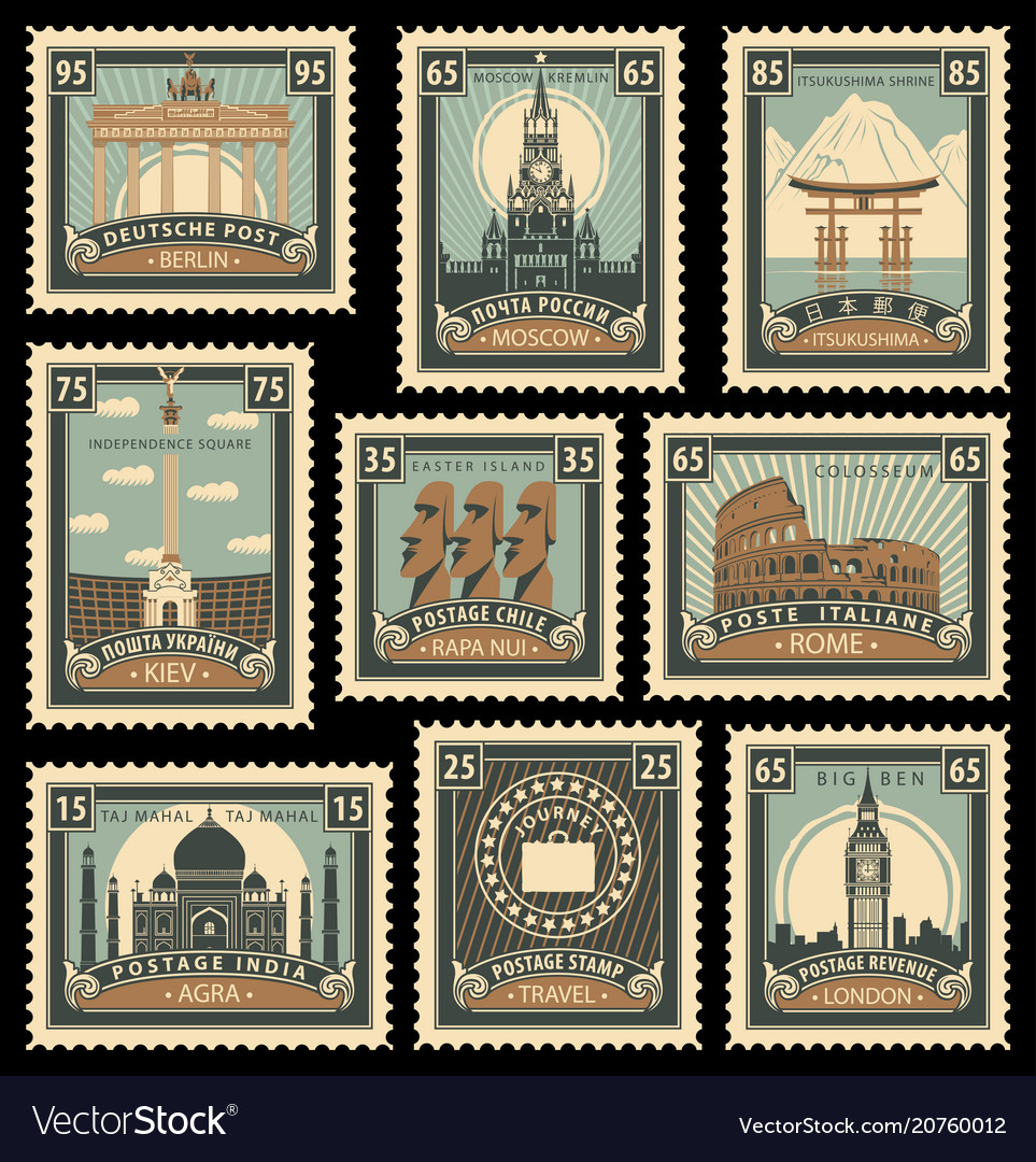 Set stamps with architectural historical sites