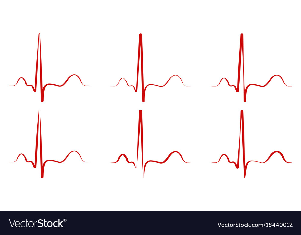 Set the pulse hand drawn red heartbeat icon