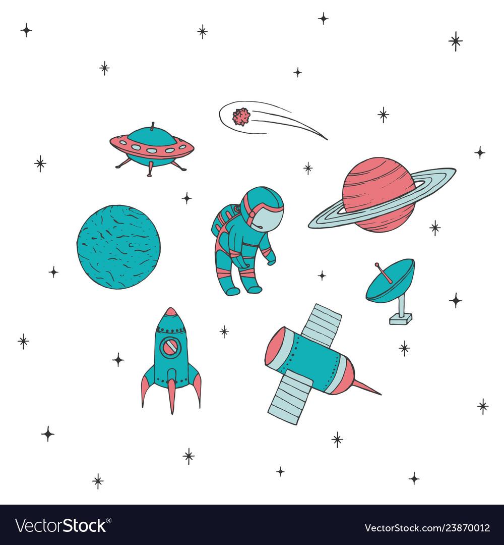 Space icon set with cosmonaut satellites ufo mars