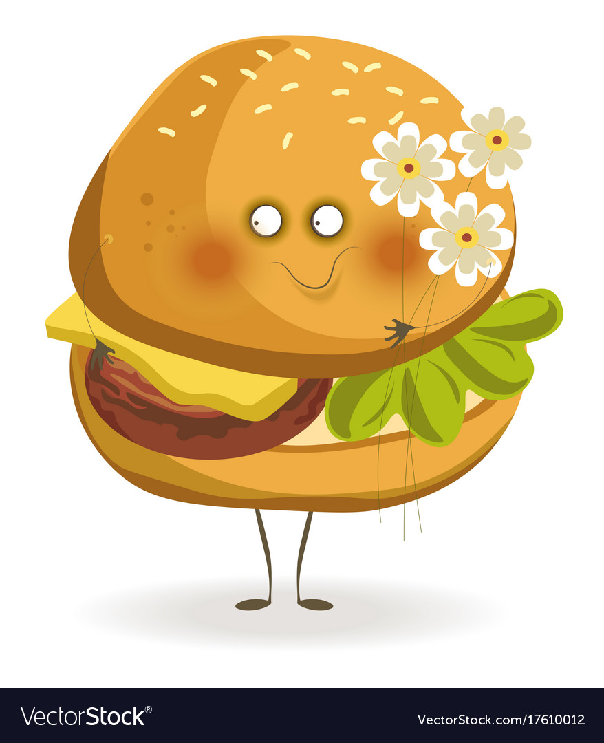 Tasty cheeseburger with adorable face holds small vector image